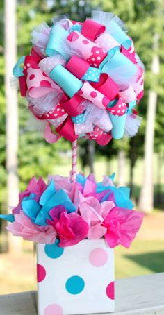 Ribbon topiary, So Cute Parties, Turquoise, Hot Pink and Pink, Lilly Pulitzer Party