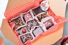 """""""box of chocolates"""" made with brownies"""