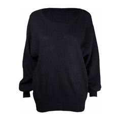 Ladies New Plain Chunky Knit Loose Baggy Oversized Jumper Tops Womens... ($2.92) ❤ liked on Polyvore featuring tops, sweaters, oversized chunky knit sweater, loose fit tops, over sized sweaters, baggy jumpers and loose fit sweater