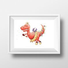 Digital download - fairysaurus rex, fairy dinosaur, nursery art, birthday invitation artwork