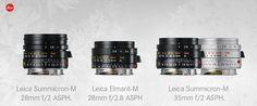 Optimized Leica M Lenses: Summicron-M 28 mm f/2 ASPH., Elmarit-M 28mm f/2.8 ASPH, and Summicron-M 35mm f/2 ASPH
