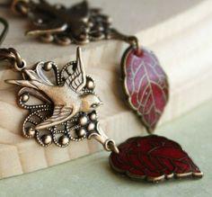 Bird Dangle Earrings Leaf Earrings Red Earrings Bird by AmberSky