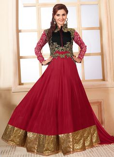 Maroon Monica Bedi Floor Length Anarkali Suit
