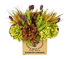 CDFL1614 Green and Brown Hydrangea with Wheat, Green Heather and Purple Thistle in Woven Square Container. Available for purchase www.cdi25.com