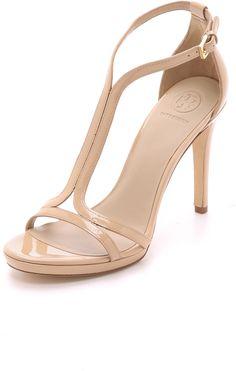 Tory Burch Shrimpton Sandals....Tan High Heel Buckel