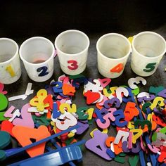 Number recognition sorting cups.