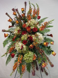 Standing funeral spray with hydrangeas, callas, lilies, snapdragons etc. … – casket spray for outdoorsman – Wreaths Casket Flowers, Grave Flowers, Cemetery Flowers, Funeral Flowers, Diy Flowers, Fall Flowers, Pretty Flowers, Funeral Floral Arrangements, Large Flower Arrangements