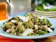 Quinoa Salad with Asparagus, Goat Cheese and Black Olives #myplate #grains