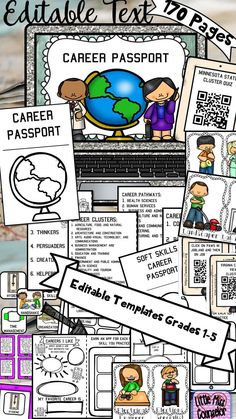 Editable Career Passport Bundle with Soft Skills Rotation product with so many possibilities. Use in small group sessions, classroom lessons, or during a career event. Choose between a passport using career clusters, career codes, or career groups that can be printed front and back to create a 4 page booklet.