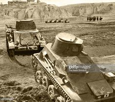 Imperial Japanese Army Type 94 tankettes march on the moutain area of Shanxi province on March 8 1941 in China