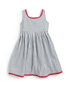 f0b5c2a714e Ralph Lauren toddler - sleeveless cotton dress features vintage-inspired  indigo stripes and contrasting accents