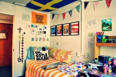 pinning if not solely for the AVPM pillow-quote. So bright and colorful of a dorm room.