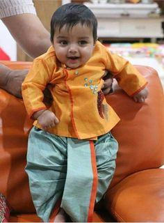 Sparkling Fashion: Designer Dhoti kurta for boys/ kids/ Bridegrooms online Mom And Baby Dresses, Baby Boy Dress, Baby Girl Party Dresses, Dresses Kids Girl, Toddler Outfits, Baby Boy Outfits, Kids Outfits, Family Outfits, Kids Dress Wear