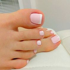 Trendy French Pedicure Designs Toenails White Tips 49 Ideas French Toe Nails, Pink Toe Nails, Toe Nail Color, Cute Toe Nails, Feet Nails, Toe Nail Art, Pretty Nails, Nail Colors, My Nails