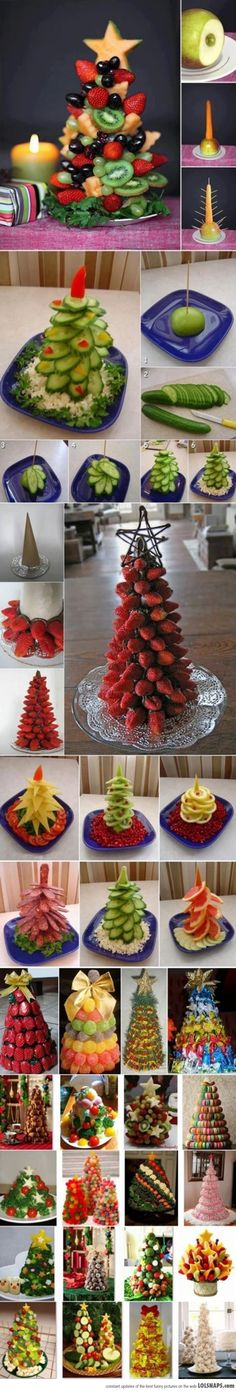Cute ideas for serving a festive tree of MANY different items from appetizers to dessert!  Fun!