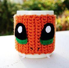 Charmander Inspired Coffee Mug Tea Cup Cozy: Pokemon -ish Japanese Cartoon Crochet Knit Sleeve