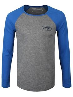 b40e61decc Buy Vans Authentic Blue   Grey Heather Mens Raglan T-Shirt Mens T-shirt
