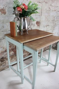 New To Mole & Velvet's Etsy Shop! Pair of Upcycled Mid Century Modern Nesting Tables Painted In Mint Green Chalk Paint, Subtle Shabby Chic!