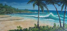 """Waves through the Palms""   Original acrylic painting 18x36"" $1800.00"