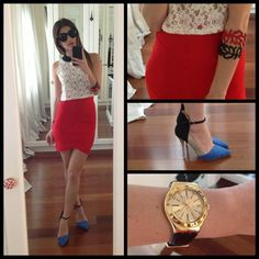 Anne Curtis smith - Plains And Prints White Lace, Plains And Prints Red Tight Skirt, Primadonna Prima, Swatch Goldy - Blabla Simple Outfits, Summer Outfits, Casual Outfits, Cute Outfits, Anne Curtis Outfit, Anne Curtis Smith, London Look, Dress Me Up, Her Style