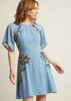Retro Sequin Dress with Cape Sleeves in XL - Other A-line Knee Length by ModCloth