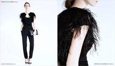 MONIQUE LHUILLIER Feather Shrug $1,995 Strapless Jumpsuit $1,990  GIANVITO ROSSI Metal Mesh Cap Toe Pump $705