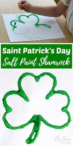 Making a Saint Patrick's Day salt paint Shamrock is an easy art project and fine motor activity for kids. Toddlers, Preschoolers, Kindergarteners, and elementary kids will enjoy the raised salt and watercolor painting technique used to create this St. Patrick's Day craft. Try it today!
