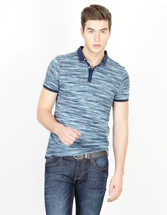 BASICS CASUAL STRIPED BLUE 100% COTTON MUSCLE T.SHIRT