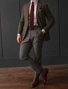 CHRISTMAS 2015- Tweed gun check jacket paired with a blue button down oxford shirt, cashmere maroon tie, wool paisley pocket square. Worn with VBC mid grey flannel trousers, and our Bergamo double monk shoe.