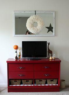 Another dresser to entertainment center. Shelves on the bottom.