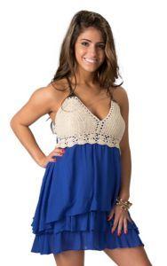7d5f003c4c8 Double Zero Women s Royal Blue with Cream Crochet Sleeveless Dress