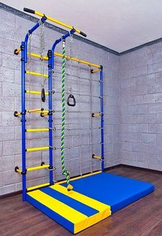 Kids Playground with Climbing Cargo Net / Indoor Wall Gym Training Sport Set with Trapeze Bar Swing Climber Climbing Rope Jump Rope / Suit for Backyard School and Playroom / Comet Next 3 (Blue Playground Set, Kids Indoor Playground, Playground Design, Backyard Swing Sets, Backyard Bar, Climbing Wall Kids, Climbing Rope, Indoor Climbing, Kids Basement