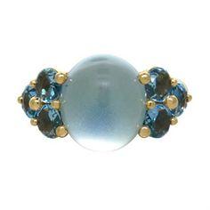 New Pomellato Luna 18k Gold Blue Topaz Ring