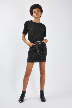 MOTO Denim Stud Skirt - Topshop USA