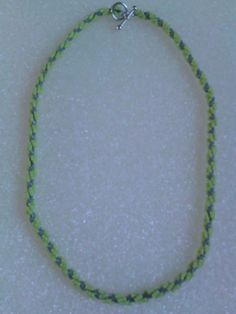 Lime Green & Gray spiral necklace