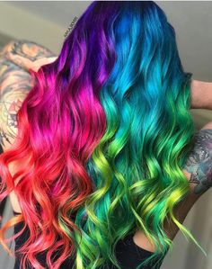 Unicorn or rainbow hair - Bunte Haare - Hair Color Cute Hair Colors, Pretty Hair Color, Beautiful Hair Color, Hair Dye Colors, Unique Hair Color, Hair Colour, Pretty Hairstyles, Braided Hairstyles, Hairstyle Ideas