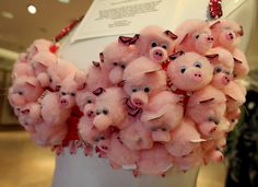 Super cute decorated bra for a breast cancer fundraiser