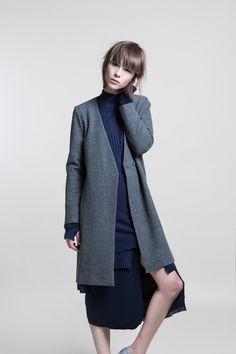 Under Layer Raw Edge Coat &  2-Layers Knitted Rib Skirt #GreyNavy #White #nuditefashion #nudite #design #white #line #minimal #minimalist #simple #pale #plain #AW