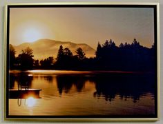 Sunrise on Mirror Lake  Framed Canvas 18 x by OccasionalNoteCards