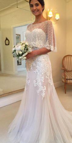 Sweetheart Lace Mermaid Wedding Dress with Capelet #BridalDresses #WeddingGowns #Wedding #WeddingDresses