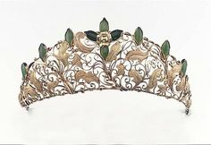 An intricate jade orchid kokoshnik tiara, with  jade ovals either side of a central flower on top of an open-work gold Kokoshnik of coiling tendrills and leaves.