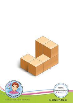 Bouwkaart 7 moeilijkheidsgraad 2 voor kleuters, kleuteridee, Preschool card building blocks with toddlers 7, difficulty 2