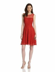 Sandra Darren Women's Fit and Flare Lace and Mesh Dress