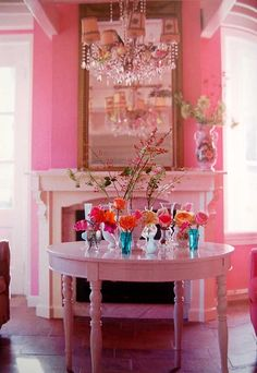 Pink design pink home decor flowers interior   This photo is beautiful, I love PINK!