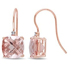 Shop for Miadora Signature Collection Rose Gold Cushion-Shaped Morganite and Diamond Accent Hook Earrings (G-H, Get free delivery On EVERYTHING* Overstock - Your Online Jewelry Destination! Rose Gold Drop Earrings, Diamond Earrings, Fine Jewelry, Jewelry Making, Gold Jewelry, Jewlery, Glands, Bling, Square Earrings