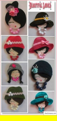 Create Beautiful Ladies from CD's Adorable idea, felt ladies' heads. This site suggests making them the size of CDs and adding a pocket on the back for secrets, messages or special items. Felt Diy, Felt Crafts, Fabric Crafts, Sewing Crafts, Diy And Crafts, Sewing Projects, Recycled Cd Crafts, Santa Crafts, Felt Projects