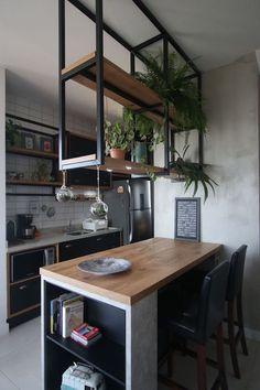 Industrial Kitchen Design, Kitchen Room Design, Kitchen Sets, Home Decor Kitchen, Interior Design Kitchen, Home Kitchens, Industrial Kitchens, Loft Kitchen, Industrial Lamps