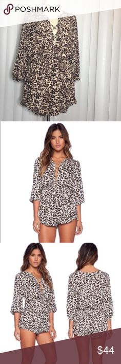 Chic leopard print romper Super cute and chic leopard print romper. Has a super cute and sexy criss cross lace up v neck. Made out of chiffon polyester material. Super high quality material. Hand picked ❤️ Dorimas Closet Pants Jumpsuits & Rompers