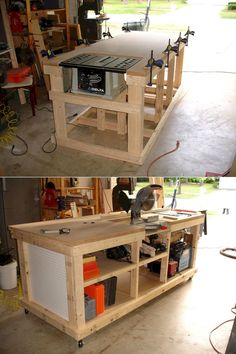 Woodworking Bench DIY Ultimate Workbench ( Table Saw and Outfeed / Chop Saw Well / Router Table / Storage ) www. Workbench Table, Woodworking Workbench, Woodworking Crafts, Woodworking Shop, Garage Workbench, Workbench Ideas, Workbench Organization, Folding Workbench, Workbench Designs