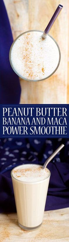 Peanut Butter, Banana and Maca Power Smoothie! Vegan, Paleo and Refined Sugar Free. A healthy, quick and simple breakfast to sustain you through till lunch.